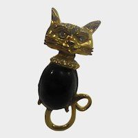 Vintage Gold Tone Cat With Faux Onyx Body and Sparkling Face