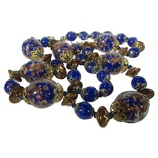 Vintage Venetian Beads Necklace With Beads in Gold Tone and Cobalt Blue With Barrel Clasp