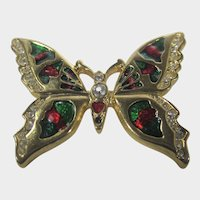 Gold Tone Butterfly WIth RIch Enamelling in Red and Green