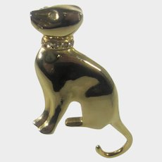 Gold Tone Cat with Curved Tail