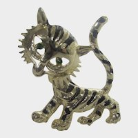 Gold Tone Smiling Tiger Pin With Green Crystal Eyes