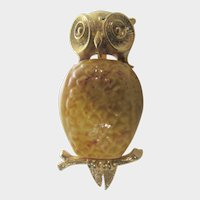 Wise Owl Pin With Ceramic Mustard Body and Gold Tone Frame