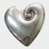 Sterling Silver 925 Frederic Jean Duclos On Wax Modernist Heart Pin