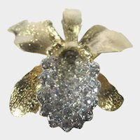 """Nolan Miller """"Sculptured Orchid"""" Pin or Enhancer in Gold Tone and Clear Crystals"""