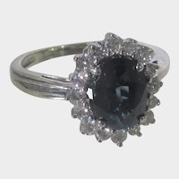 14 Karat White Gold Sapphire and Diamond in Classic Setting