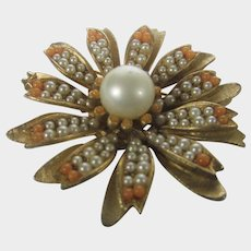 Vintage BSK Pin In Floral Design With Faux Seed Pearls and Faux Coral Beads
