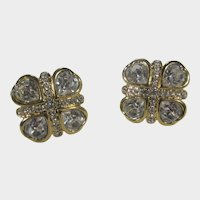 Vintage Monet Clear Crystal Clip On Earrings