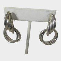 Sterling Silver Signed Pierced Interlocking Ring Earrings