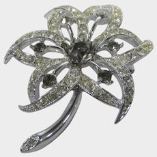 Vintage Sarah Coventry Mid Century Silver Tone Pin With Clear and Smokey Crystals