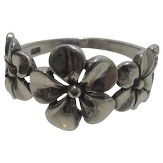 Sterling Silver Band of Flowers Ring