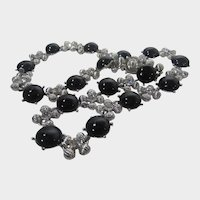 Camrose and Kross Replica Necklace Worn By Jacqueline Bouvier Kennedy Silver Tone Faux Onyx and Crystal