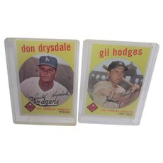 Topps 1959 Gil Hodges and Don Drysdale Los Angeles Dodgers