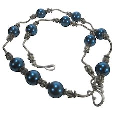 Sterling Silver Links and Clasp Necklace with Faux Turquoise Blue Pearls