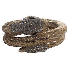 Gold Tone Spring Mesh Serpent Wrap Bracelet