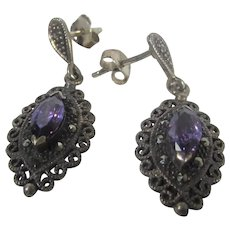 Sterling Silver Pierced Earrings With Amethyst Crystal Centers