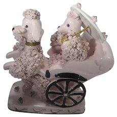 Vintage Spaghetti Poodle In Pink Carrying Another Poodle in Rickshaw