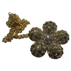 Nolan Miller Gold Tone Necklace With Pave Crystal Flower Pin or Pendant