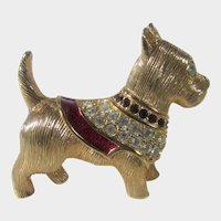 Vintage Swarovski Gold Tone Scottie Dog Brooch Pin Signed Retired