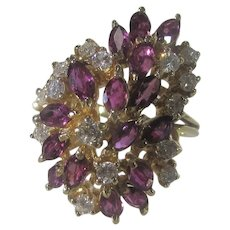 14 Karat Yellow Gold Ruby and DIamond  Cluster Ring