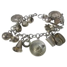 Sterling Silver Vintage Charm Bracelet With 17 Sterling Silver Charms
