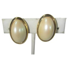 Signed Gold Tone Framed Faux Mabe Pearl Clip On Earrings