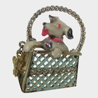 Dog In a Gold Tone Purse With Keys Pin