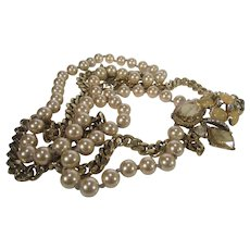 Statement Two Strand Necklace With Outstanding Focal Faux Pearls and Faux  Citrine