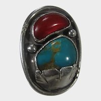 Native American Sterling Silver Ring With Turquoise and Carnelian