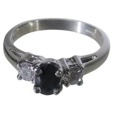 Platinum Sapphire and Diamond RIng By Reeds Jewelers