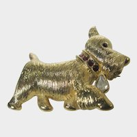 Vintage Napier Gold Tone Pup Pin With Bejeweled Collar
