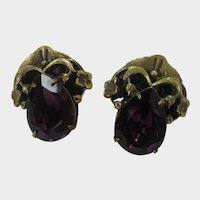Joseff Russian Gold Tone Clip Earrings With Rich Purple Crystal
