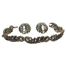 Vintage Crown Trifari Two Tone Set With Bracelet and Clip On Earrings