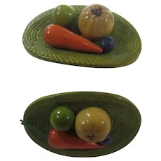 VIntage Vegetable Plate Czechoslovakian Pair of Buttons