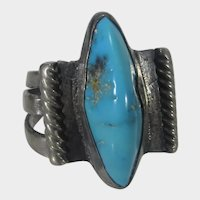 Native American Sterling Silver Turquoise Ring Artist Signed
