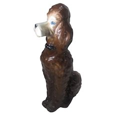 Casades Porcelain Apricot Poodle Figurine Beautiful Blue Eyes