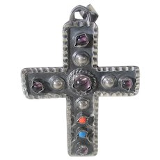 Sterling Silver Cross Pendant With a Variety of Stones