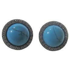 Vintage La Reine Earrings for Pierced Ears With Faux Turquoise and Crystal Accents