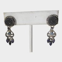 Sterling Silver Sajen Pierced Earrings With Druzy Quartz, Blue Topaz and Amethyst Accents