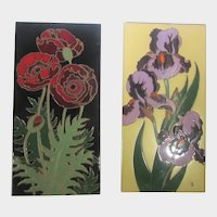 Pair of Floral Ceramic Tiles Made in Italy
