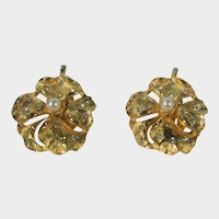 Vintage Gold Tone Clip On Earrings