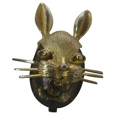 Vintage Signed BSK Pin of Bunny Both Ears Up With Smokey Quartz Accent