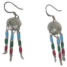 Sterling Silver Glass Bead Earrings for Pierced Ears
