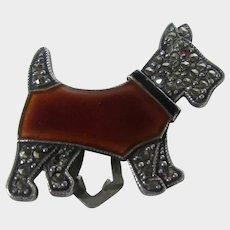 Sterling Silver Deco Marcasite Scottie Dog Clip