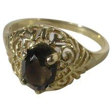 14 Karat Yellow Gold Filagree Ring With Smokey Quartz Gem