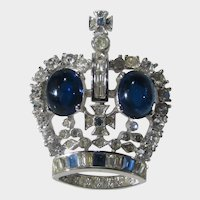 Vintage Pennino Silver Tone Crown Pin With Large Blue Cabochon and A Variety of Crystals