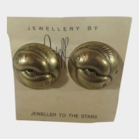 Joseff of Hollywood Russian Gold Clip On Pieces Earrings on Original Card
