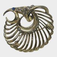 Modernist Gold Tone Bird Pin With Blue Eye