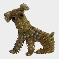 Vintage Gold Tone Dog Pin Enhanced With Faux Pearls and Red Eyes