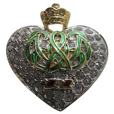 Kenneth J. Lane Dutchess of Windsor Collection Replica Heart With A Crown Brooch