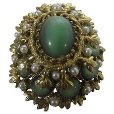 Vintage Pin or Pendant With Faux Green Moonstones and Faux Pearls